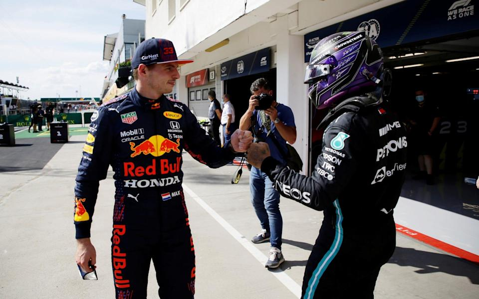 Max Verstappen greets Lewis Hamilton after qualifying on Saturday - REUTERS