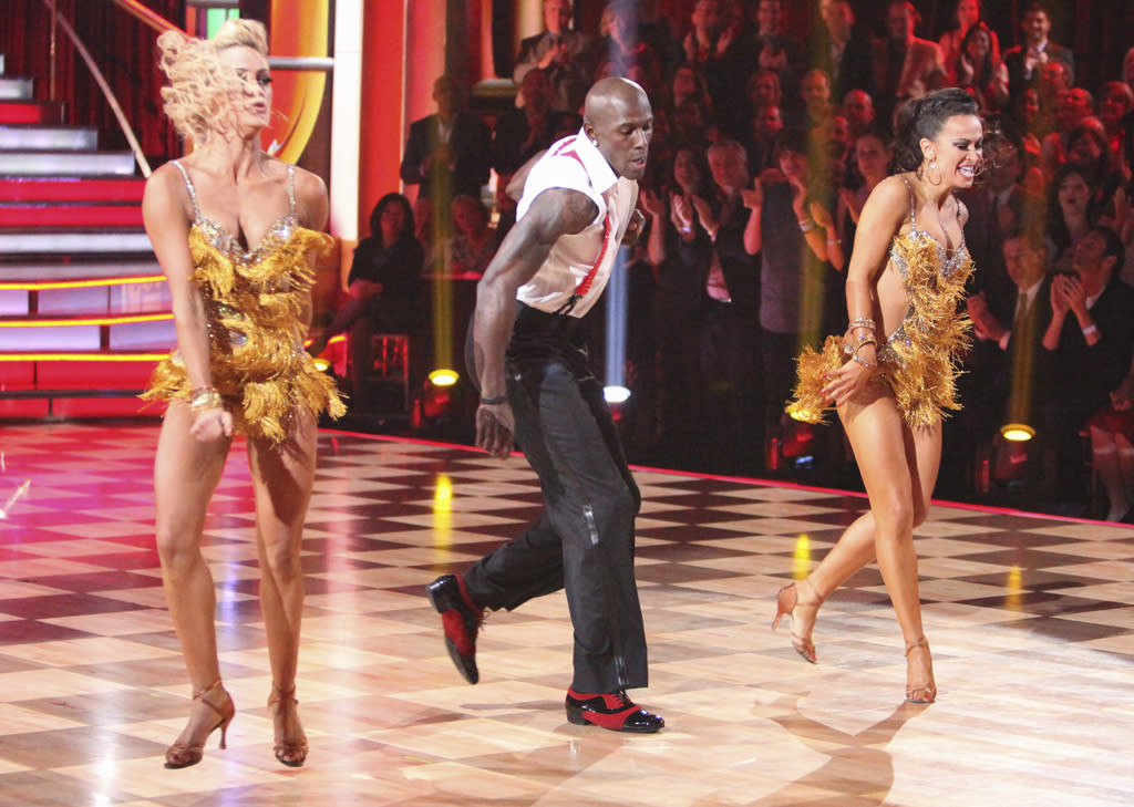 "Peta Murgatroyd, Donald Driver and Karina Smirnoff perform on ""Dancing with the Stars."""