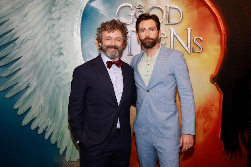 "Michael Sheen, left, and David Tennant, right, attend the premiere of Amazon Prime Video's ""Good Omens"" at the Whitby Hotel on Thursday, May 23, 2019, in New York. (Photo by Andy Kropa/Invision/AP)"