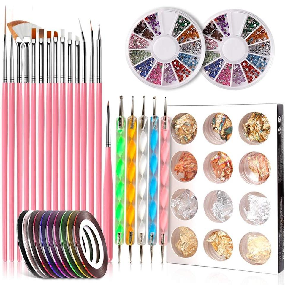 <p>You'll be set with this <span>Teenitor Nail Painting Nail-Art Tool Kit</span> ($9), which features brushes, nail-dotting tools, foil, manicure tape, and rhinestones.</p>