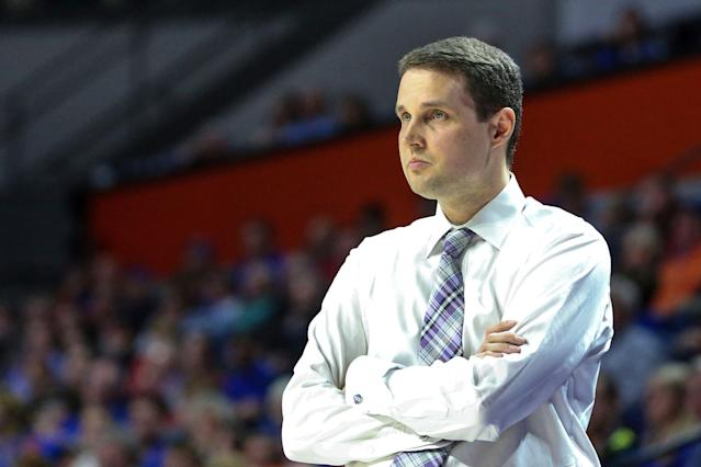 LSU head coach Will Wade during the first half of an NCAA college basketball game against Florida in Gainesville, Fla., Wednesday, March 6, 2019. (AP Photo/Gary McCullough)