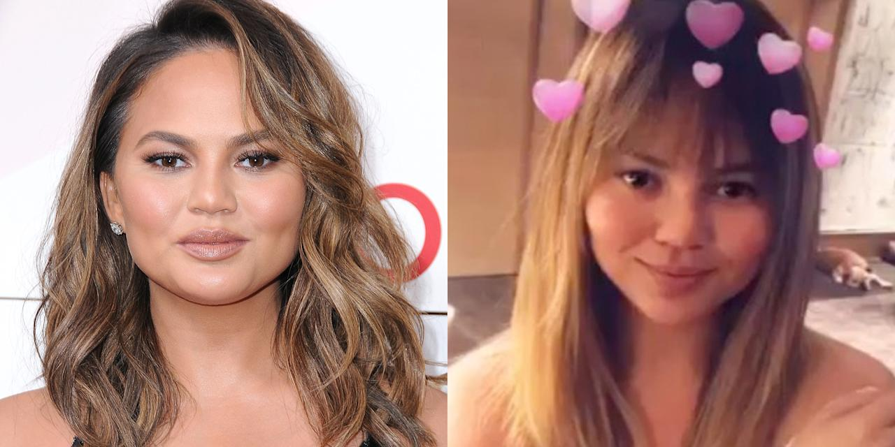 """<p>A day after <a rel=""""nofollow"""" href=""""http://www.elle.com/culture/celebrities/a13821688/chrissy-teigen-is-pregnant-with-her-second-child/"""">announcing she's pregnant</a> with her second child, Teigen showed off brand-new bangs on <a rel=""""nofollow"""" href=""""https://www.instagram.com/p/BbyG9S_Fnbg/"""">her Instagram</a>.</p>"""