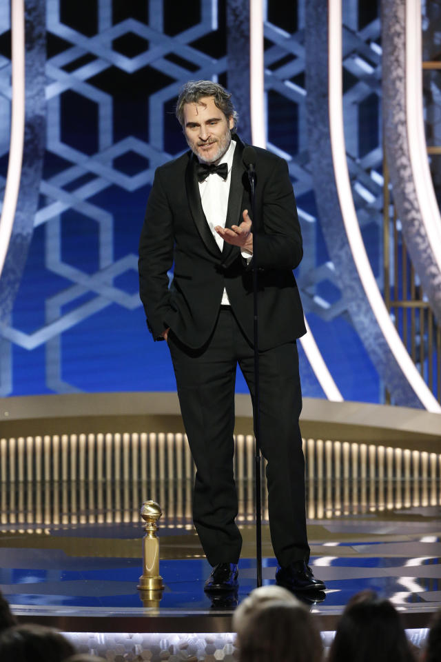 Joaquin Phoenix accepts the award for Best Actor for <em>Joker</em> during the 77th Annual Golden Globe Awards. (Photo: Paul Drinkwater/NBCUniversal Media, LLC via Getty Images)