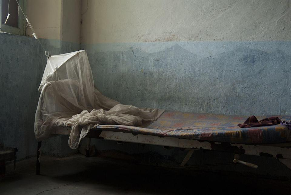 <p>This empty hospital bed appears to still have the mattress imprint of the last person who sleep on it. <br></p>