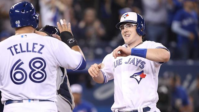 The Blue Jays handed the Wild Card-hopeful Rays a devastating loss on Thursday by scoring seven runs in the bottom of the ninth to come back and win 9-8.