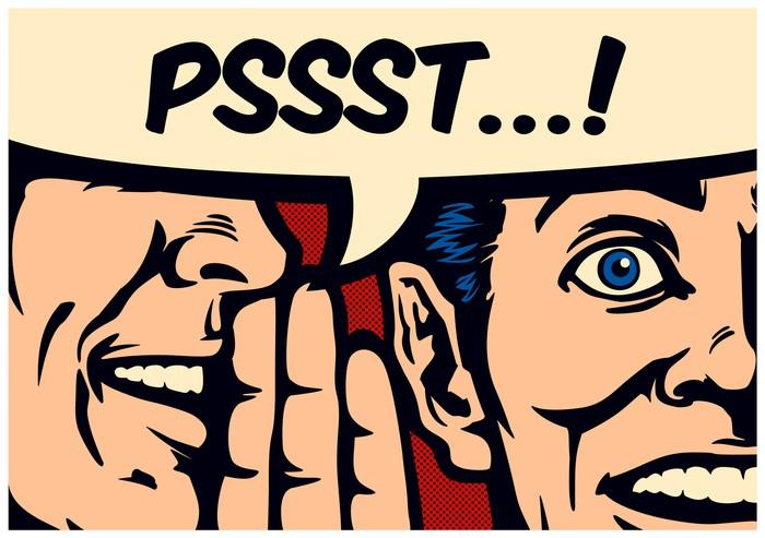 Pop art-style comics panel of a gossiping man whispering a secret in ear of surprised person with speech bubble.