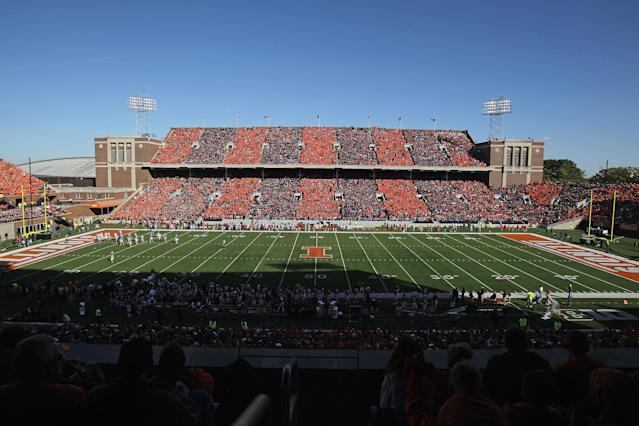 CHAMPAIGN, IL - OCTOBER 15: A general view of Memorial Stadium as the Illinois Fighting Illini take on the Ohio State Buckeyes on October 15, 2011 in Champaign, Illinois. Ohio State defeated Illinois 17-7. (Photo by Jonathan Daniel/Getty Images)