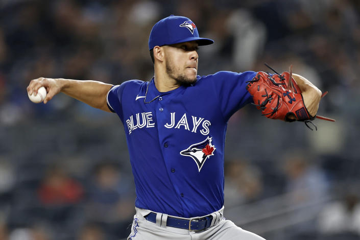 Toronto Blue Jays pitcher Jose Berrios throws to a New York Yankees batter during the third inning of a baseball game Thursday, Sept. 9, 2021, in New York. (AP Photo/Adam Hunger)