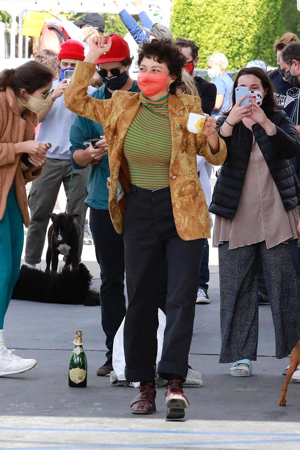<p>Alia Shawkat was spotted dancing and celebrating Joe Biden's projected victory over President Donald Trump in Los Feliz, California.</p>