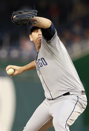 San Diego Padres starting pitcher Tim Stauffer throws against the Washington Nationals during the second inning of baseball game, Monday, May 14, 2012 in Washington. (AP Photo/Haraz N. Ghanbari)