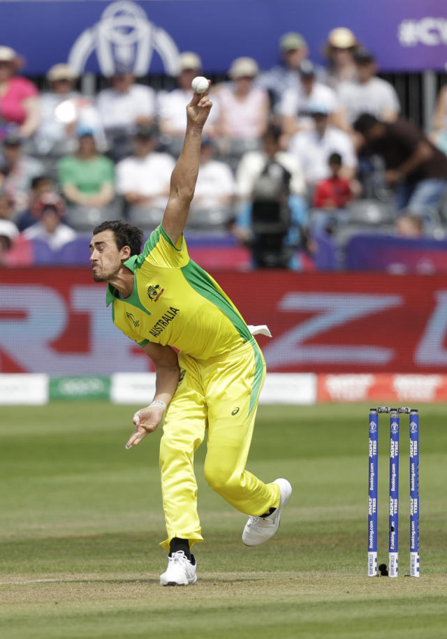 Australia's Mitchell Starc pitches a delivery during the Cricket World Cup match between Afghanistan and Australia at Bristol County Ground in Bristol, England, Saturday, June 1, 2019. (AP Photo/Matt Dunham)