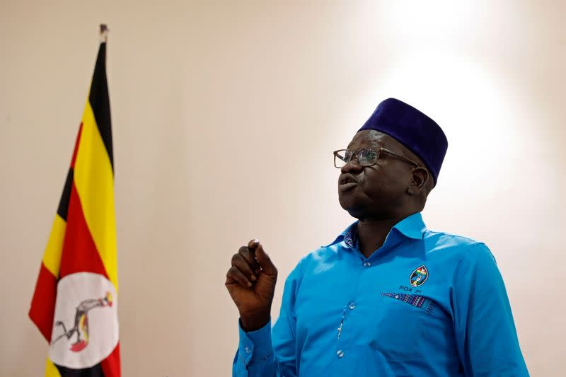 Patrick Oboi Amuriat, one of the opposition leaders, gestures during a press conference in Kampala