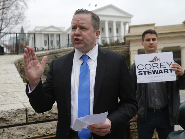 Senatorial hopeful Corey Stewart at a news conference at the Virginia Capitol in February. (Photo: Steve Helber/AP)