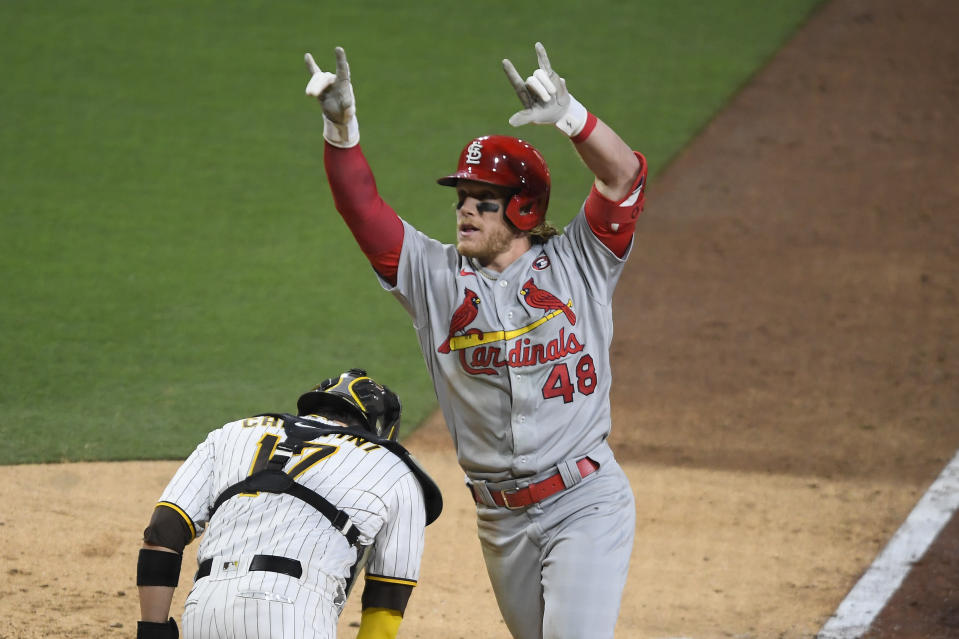St. Louis Cardinals' Harrison Bader (48) celebrates after hitting a solo home run during the seventh inning of a baseball game against the San Diego Padres, Saturday, May 15, 2021, in San Diego. (AP Photo/Denis Poroy)