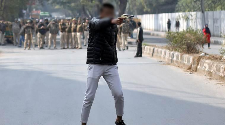 Jamia shooting, Jamia protest shooting, Jamia protest shooter facebook, Jamia CAA protest violence shooting, Delhi Jamia students shooting injured, Delhi police city news, indian express