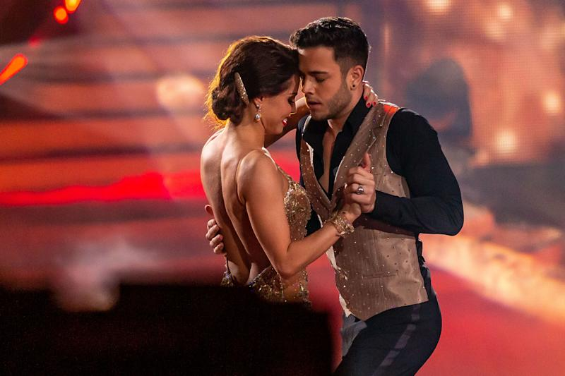 """COLOGNE, GERMANY - MARCH 06: (BILD ZEITUNG OUT) Christina Luft and Luca Haenni looks on during the 2nd show of the 13th season of the television competition """"Let's Dance"""" on March 6, 2020 in Cologne, Germany. (Photo by Mario Hommes/DeFodi Images via Getty Images)"""
