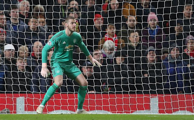 David de Gea during the Group H match of the UEFA Champions League between Manchester United and BSC Young Boys at Old Trafford on November 27, 2018 in Manchester, United Kingdom.