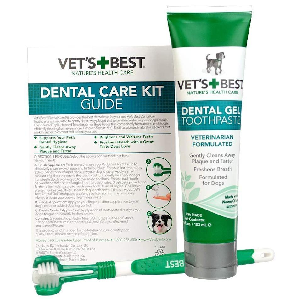 """<h3><strong>Best-Selling Dog Toothpaste</strong></h3><p>We can't gift our pups a pack of teeth-whitening strips, but we can provide them with some best-selling dental support — this care kit contains a veterinarian-formulated toothpaste (made with natural enzymes, neem oil, grapefruit seed extract, baking soda, and aloe) that cleans plaque and tartar for fresher pet-breath after one brush.</p><br><br><strong>Vet's Best</strong> Enzymatic Dog Toothpaste, $6.99, available at <a href=""""https://www.amazon.com/Vets-Best-Toothbrush-Toothpaste-Formulated/dp/B06XKJNFXX/ref=sr_1_2_sspa"""" rel=""""nofollow noopener"""" target=""""_blank"""" data-ylk=""""slk:Amazon"""" class=""""link rapid-noclick-resp"""">Amazon</a>"""