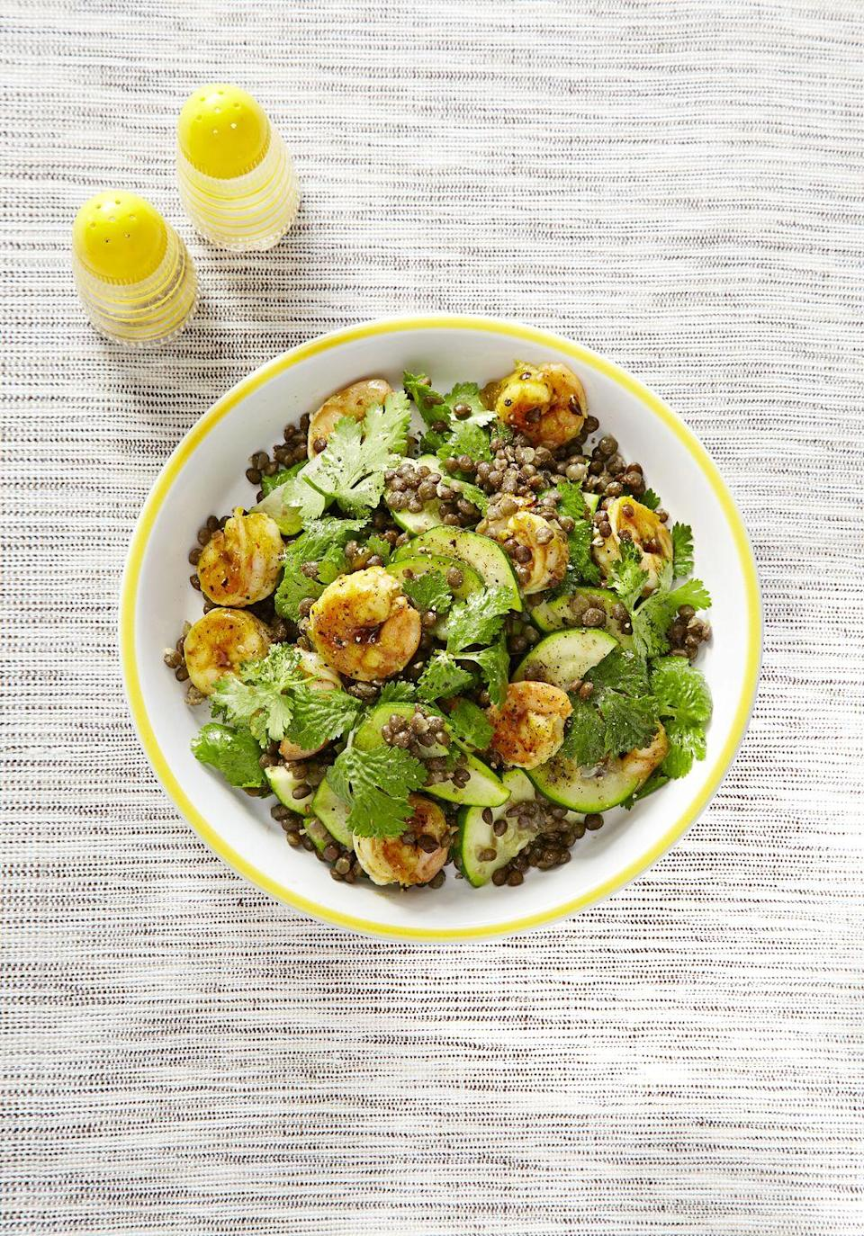 """<p>Let's take a moment to appreciate lentils — they are high in iron and fiber, affordable and versatile. Also, they taste absolutely incredible in this spiced shrimp salad. </p><p><em><a href=""""https://www.goodhousekeeping.com/food-recipes/a1509/chutney-glazed-shrimp-lentils-recipe-ghk0415/"""" rel=""""nofollow noopener"""" target=""""_blank"""" data-ylk=""""slk:Get the recipe for Chutney-Glazed Shrimp with Lentils »"""" class=""""link rapid-noclick-resp"""">Get the recipe for Chutney-Glazed Shrimp with Lentils »</a></em> </p>"""