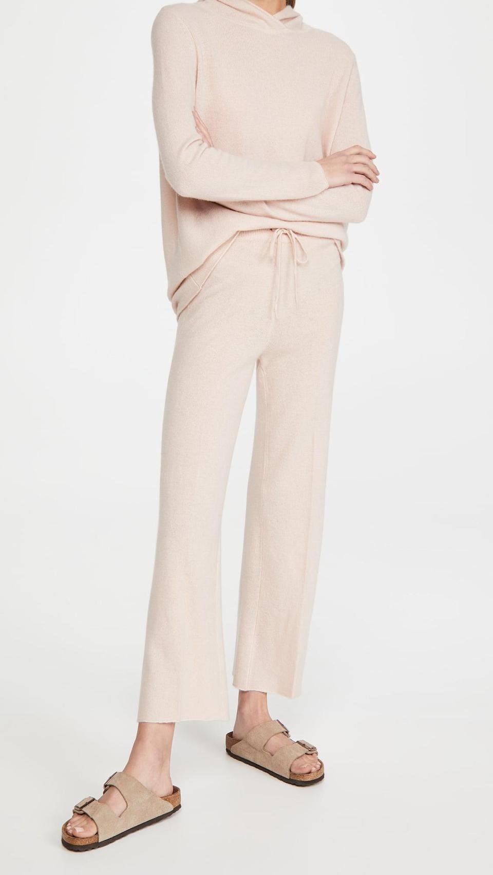 <p>Feel like royalty in this <span>TSE Cashmere Cashmere Drawstring Pants</span> ($595) and <span>Hoodie</span> ($595).</p>