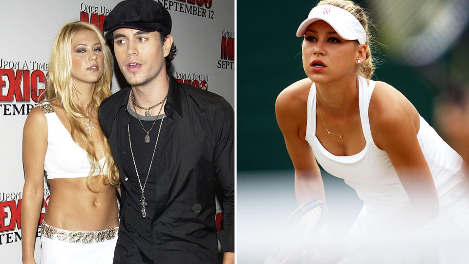 Anna Kournikova, pictured here with husband Enrique Iglesias, and at Wimbledon.