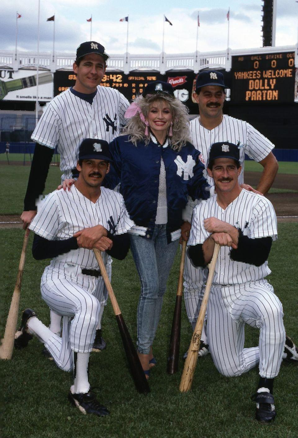 <p>In 1987, Dolly got a big welcome from the New York Yankees for her show<em> Dolly!</em></p>