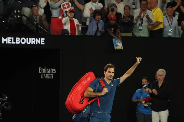 Tennis - Australian Open - Fourth Round - Melbourne Park, Melbourne, Australia, January 20, 2019. Switzerland's Roger Federer leaves the court after losing the match against Greece's Stefanos Tsitsipas. REUTERS/Adnan Abidi