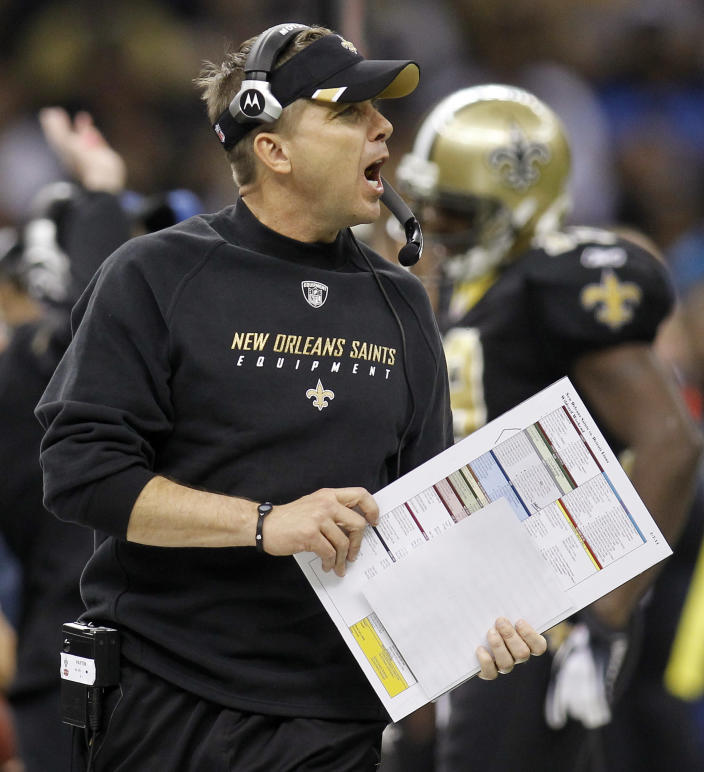 FILE - In this Jan. 7, 2012 file photo, New Orleans Saints head coach Sean Payton yells during the first half of an NFL wild card playoff football game against the Detroit Lions, in New Orleans. The NFL has suspended Payton for the 2012 season, and former Saints defensive coordinator Gregg Williams is banned from the league indefinitely because of the team's bounty program that targeted opposing players. Also Wednesday, March 21, 2012, Goodell suspended Saints general manager Mickey Loomis for the first eight regular-season games of 2012, and assistant coach Joe Vitt has to sit out the first six games. (AP Photo/Bill Haber, File)