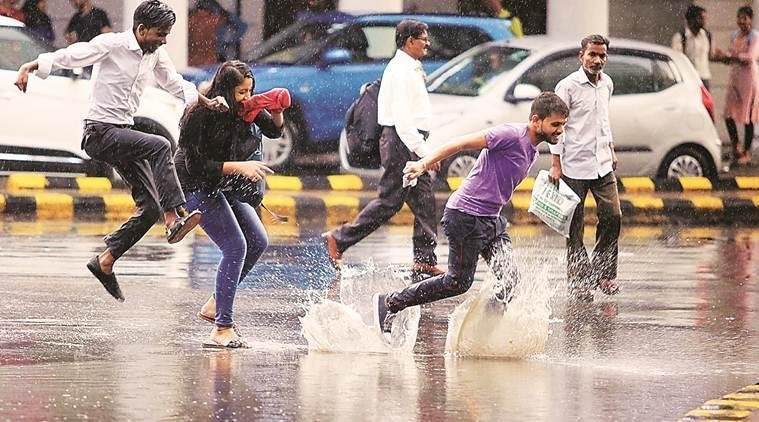 Evening shower and pleasant weather in New Delhi on Saturday. (Express photo: Praveen Khanna)