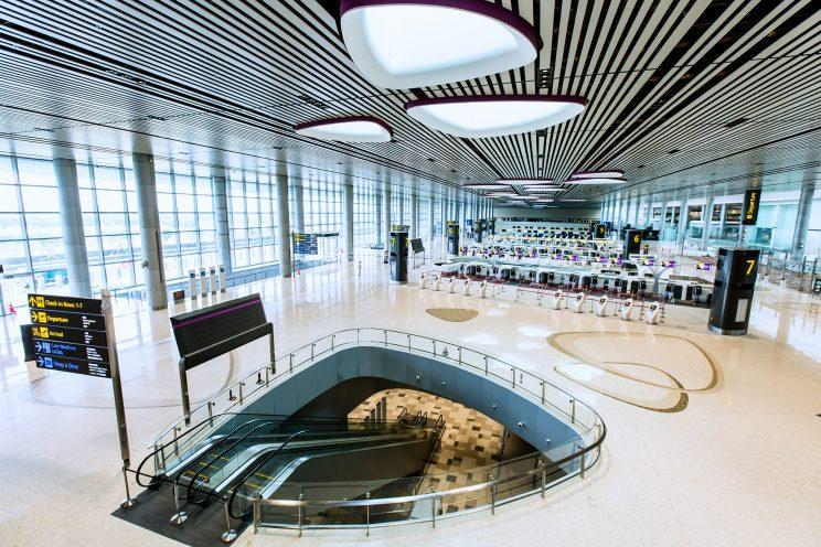 Changi Airport Terminal 4 boasts end-to-end Fast and Seamless Travel (FAST) with 65 automated check-in kiosks and 50 automated bag drop machines equipped with Facial Recognition System. (Photo: Changi Airport Group)