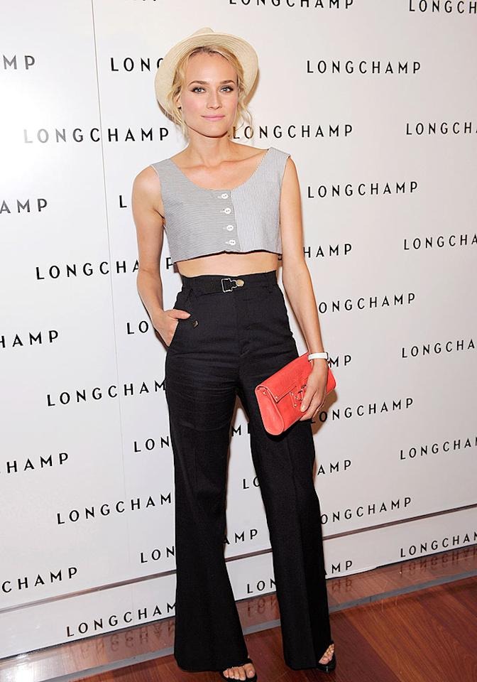 "High-waisted pants are all the rage these days, but the ones worn by Diane Kruger look more like rib-huggers. Her homemade crop top is also a major flop. Shawn Ehlers/<a href=""http://www.wireimage.com"" target=""new"">WireImage.com</a> - July 14, 2008"