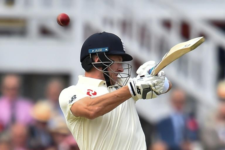 England's Joe Denly after was struck on the head by a short ball from Josh Hazlewood in the second Test