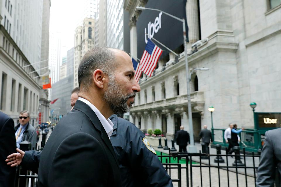 Uber CEO Dara Khosrowshahi arrives at the New York Stock Exchange for his company's initial public offering, Friday, May 10, 2019. (AP Photo/Mark Lennihan)