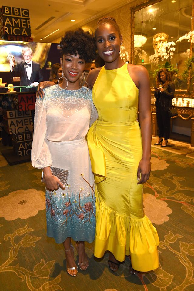 Samira Wiley, left, and Issa Rae at the BAFTA Los Angeles Tea Party. (Photo: Kevork Djansezian/BAFTA LA/Getty Images for BAFTA LA)
