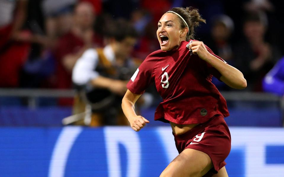 Jodie Taylor celebrates scoring for England - GETTY IMAGES