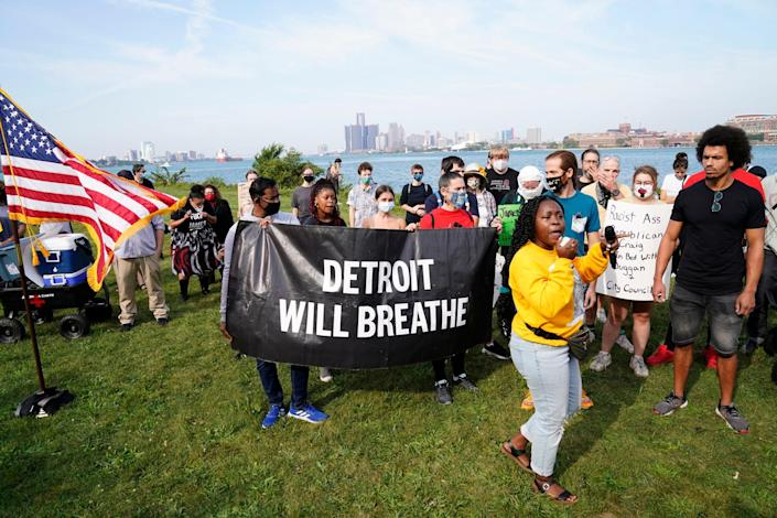 Rai Lanier speaks on behalf of Detroit Will Breath in opposition of former Detroit Police Chief James Craig before he could officially announce his run for Michigan governor, as a Republican candidate on Sept. 14, 2021, from Belle Isle.
