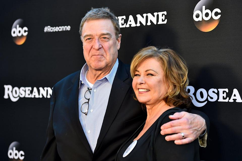 BURBANK, CA - MARCH 23:  John Goodman and Roseanne Barr attend the premiere of ABC's