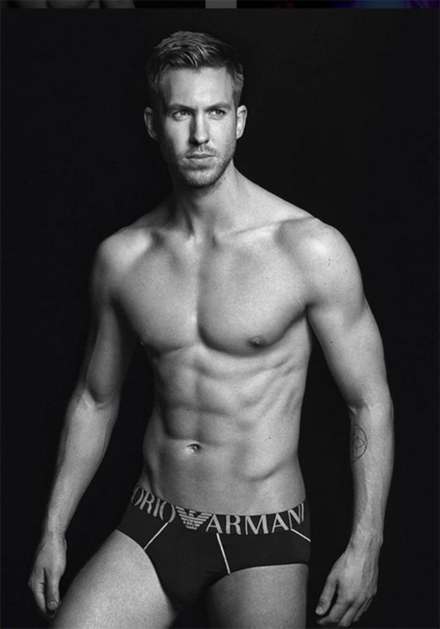 Let's just have a look at Calvin Harris, who's been the face of the brand since 2014, for a moment. (Photo: Courtesy of Armani)