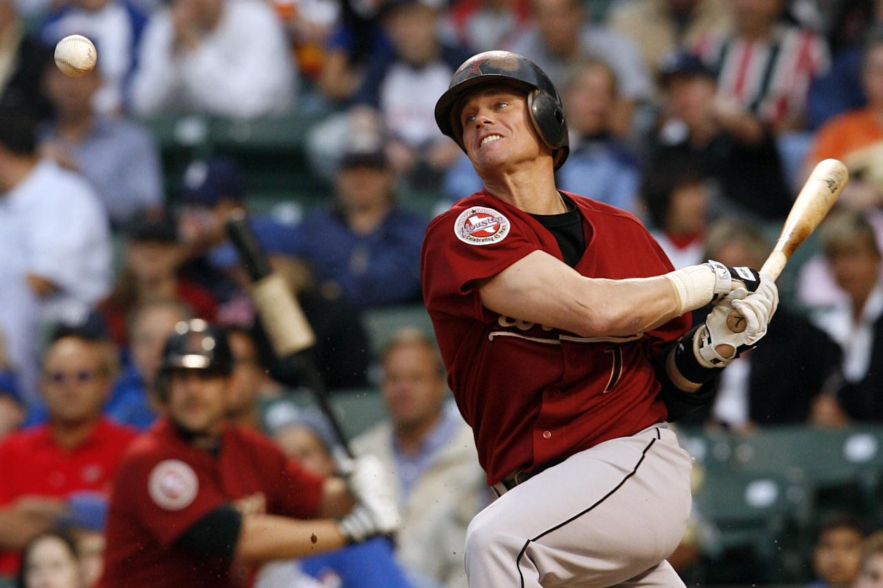 Houston Astro second baseman, Craig Biggio batting, during a night game at Wrigley Field, Chicago, Illinois USA, June 14, 2006. The Houston Astros over the Chicago Cubs by a score of 5 to 4. (Photo by Warren Wimmer/Getty Images)