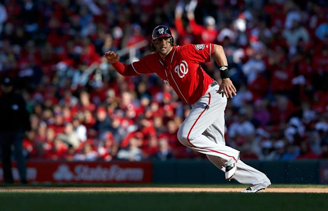 ST LOUIS, MO - OCTOBER 07: Michael Morse #38 of the Washington Nationals runs to second against the St Louis Cardinals during Game One of the National League Division Series at Busch Stadium on October 7, 2012 in St Louis, Missouri. (Photo by Jamie Squire/Getty Images)