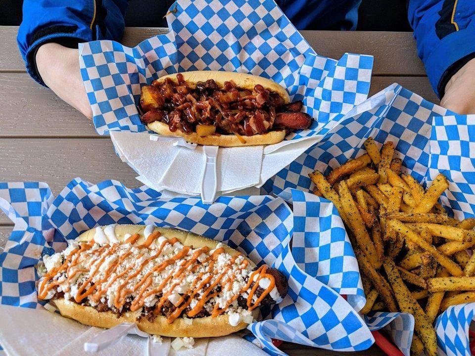 """<p><strong><a href=""""https://www.yelp.com/biz/international-house-of-hotdogs-anchorage"""" rel=""""nofollow noopener"""" target=""""_blank"""" data-ylk=""""slk:International House of Hotdogs"""" class=""""link rapid-noclick-resp"""">International House of Hotdogs</a>, Anchorage</strong><br></p><p>""""They have creative combos, and are always adding new things to the menu. The food is very tasty, and the hot dogs are a good size portion."""" – Yelp user <a href=""""https://www.yelp.com/user_details?userid=XCafAkds_cmqsjs383H-tg"""" rel=""""nofollow noopener"""" target=""""_blank"""" data-ylk=""""slk:Daniella A."""" class=""""link rapid-noclick-resp"""">Daniella A.</a></p><p>Photo: Yelp/<a href=""""https://www.yelp.com/user_details?userid=pZWYAVXMJ68JsaIfRdV-ww"""" rel=""""nofollow noopener"""" target=""""_blank"""" data-ylk=""""slk:Travis C."""" class=""""link rapid-noclick-resp"""">Travis C.</a></p>"""