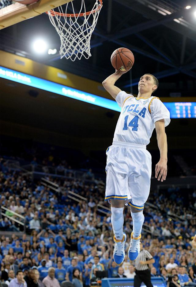 LOS ANGELES, CA - JANUARY 23: Zach LaVine #14 of the UCLA Bruins dunks during a 91-74 win over the Stanford Cardinal at Pauley Pavilion on January 23, 2014 in Los Angeles, California. (Photo by Harry How/Getty Images)