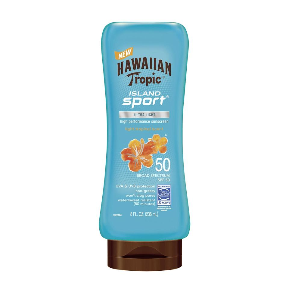 Hawaiian Tropic's Island Sport Lotion Sunscreen covers all your bases with broad-spectrum SPF 50, water resistance, and a lightweight, non-pore-clogging texture — sans greasiness. Plus, it smells like a tropical vacation, to boot.