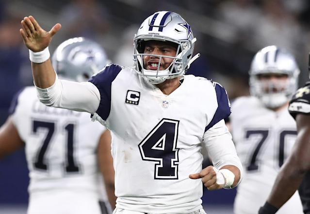 Dak Prescott has earned some high praise from team owner Jerry Jones. (Getty Images)