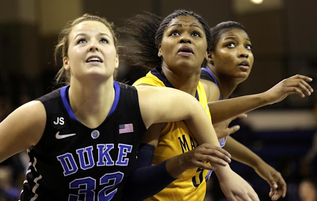 Duke's Tricia Liston, left, and Richa Jackson, right, defend against Marquette's Katie Young, center, during the second half of a woman's NCAA college basketball game Sunday, Nov. 24, 2013, in Milwaukee. Duke defeated Marquette 78-61. (AP Photo/Darren Hauck)