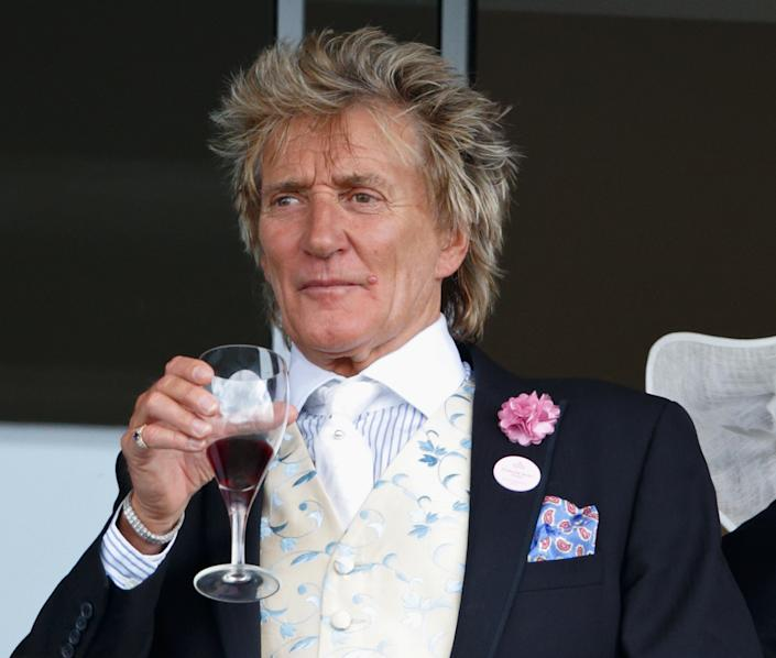 ASCOT, UNITED KINGDOM - JUNE 15: (EMBARGOED FOR PUBLICATION IN UK NEWSPAPERS UNTIL 48 HOURS AFTER CREATE DATE AND TIME) Sir Rod Stewart watches the racing as he attends day 2 of Royal Ascot at Ascot Racecourse on June 15, 2016 in Ascot, England. (Photo by Max Mumby/Indigo/Getty Images)