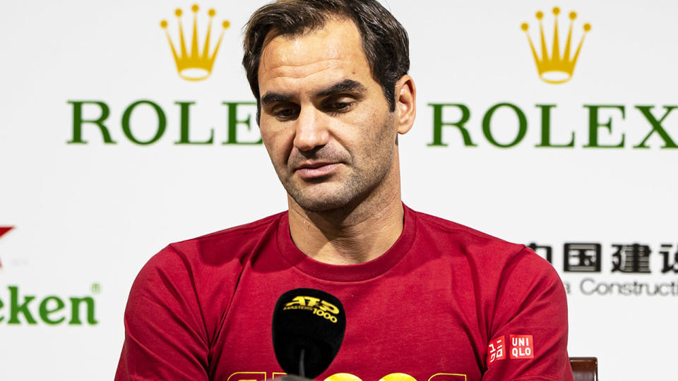 Roger Federer, pictured here speaking at a press conference.