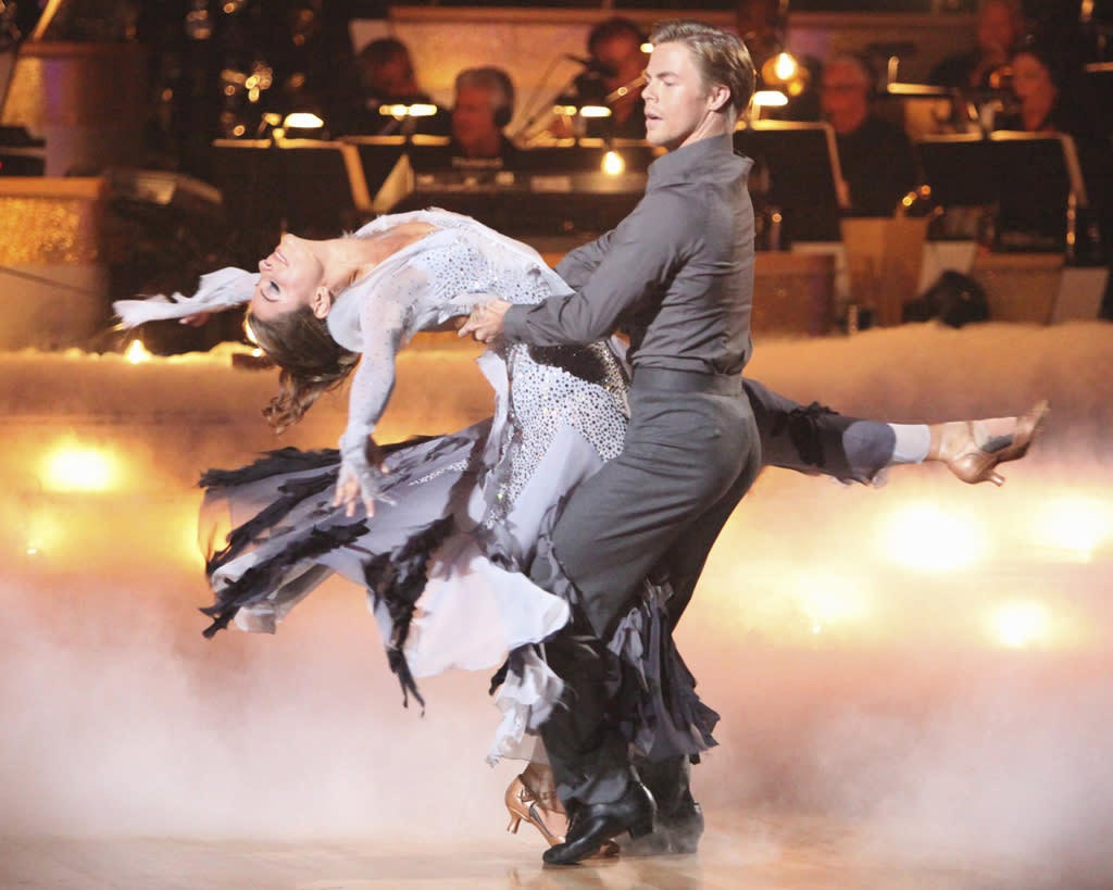 "Maria Menounos and Derek Hough perform on ""Dancing with the Stars."""
