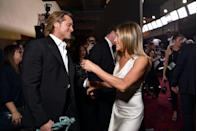 <p>The internet went crazy when cameras caught Jennifer Aniston congratulating her ex-husband, Brad Pitt, on his SAG Award in 2020. </p>