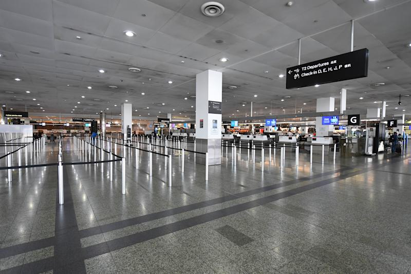 General view of empty baggage check-in lines inside in International terminal at Tullamarine Airport in on Friday. Source: AAP